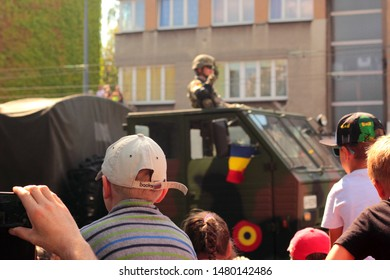Katowice, Poland - August 15, 2019: People watching Military Parade in Katowice during the celebration of Armed Forces Day in Poland.