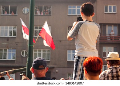 Katowice, Poland - August 15, 2019: People watching the Military Parade in Katowice during the celebration of Armed Forces Day in Poland.