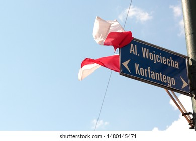 Katowice, Poland - August 15, 2019: Polish flags on Korfantego street during the Military Parade in Katowice organised for the celebration of Armed Forces Day in Poland.
