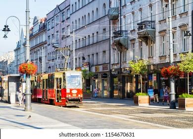 KATOWICE, POLAND - AUGUST 5, 2018: 3 maja street in Katowice, Poland. Facade of a residential townhouse in the Katowice city centre.
