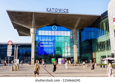 KATOWICE, POLAND - AUGUST 5 - Reconstructed Katowice railway station, integrated into a shopping mall, with characteristic cup-shaped concrete pillars on August 5, 2018, Poland