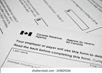 Katowice, Poland - Circa January 2015: Canadian tax form. Personal income tax form used in Canada.