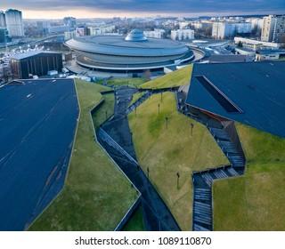 Katowice, Poland - Dec 25, 2017: Entertainment hall called Spodek in city center of Katowice, Silesia (Poland) from a drone.
