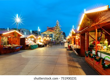 KATOWICE, POLAND - DECEMBER 11, 2015: Traditional street market and Christmas tree in Katowice, Poland on Decrmber 11.