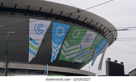 KATOWICE, POLAND, December 7, 2018, Campus of Conference of the Parties COP24,  Katowice Climate Change Conference and City icon