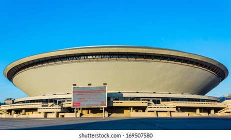 KATOWICE, POLAND - JANUARY 03: Sports hall built in the shape of a flying saucer in the early seventies of the 20th century on January 03, 2014. Structure is the best recognizable landmark of the city