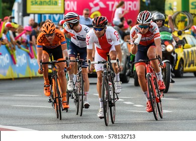 KATOWICE, POLAND - JULY 13, 2016: 73 Tour de Pologne, the biggest cycling event in Eastern Europe, participants of 2nd stage from Tarnowskie Gory to Katowice