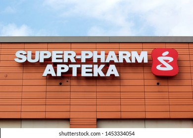 Katowice, Poland - July 16, 2019: Super-Pharm pharmacy sign. Super-Pharm is a pharmacy chain founded in 1978 in Israel.