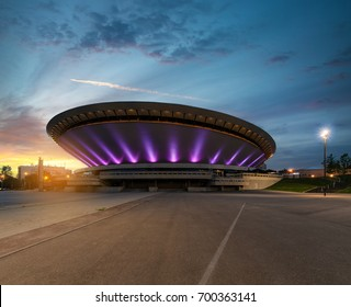 KATOWICE, POLAND - JULY 26, 2017: Sports hall, built in the shape of a flying saucer in the seventies of the 20th century, on July 26, 2017. Structure is the best recognizable landmark of the city.