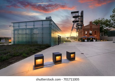 KATOWICE, POLAND - JULY 26, 2017: The Silesian Museum complex in Katowice on July 26, 2017 Old industrial part of Katowice. Poland. Europe, during sunset.