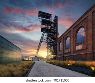 KATOWICE, POLAND - JULY 26, 2017: The Silesian Museum in Katowice on July 26, 2017 Old industrial part of Katowice. Poland. Europe, during sunset.
