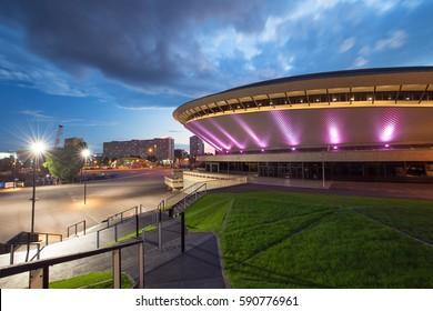 Katowice, Poland -July 30, 2016: Sport arena in Katowice called Spodek, during the night. Silesia, Poland