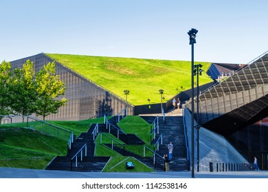 KATOWICE, POLAND - JULY 4, 2018: The International Conference Centre. Newly launched modern complex officially opened during inaugural event - European Economic Congress, held on 20-22 April, 2015.