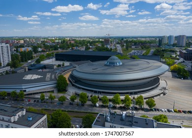 "KATOWICE, POLAND - JUNE 01, 2020: Aerial photo of ""Spodek"" arena complex and modern city center of Katowice, Upper Silesia. Poland."