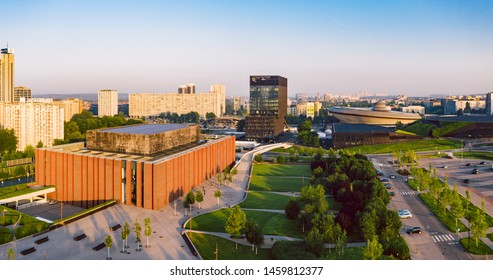 KATOWICE, POLAND - JUNE 08, 2019: The modern city center of Katowice at sunrise with the famous concert hall of The National Orchestra of Polish Radio and Spodek concert hall in the distance