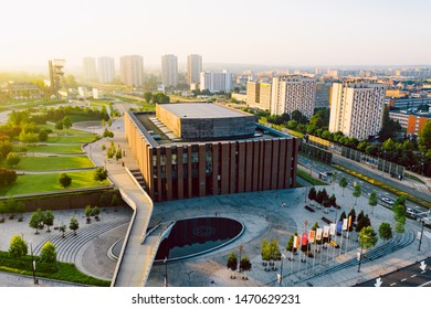 KATOWICE, POLAND - JUNE 08, 2019: Modern concert hall of The National Orchestra of Polish Radio located in a modern district of Katowice.