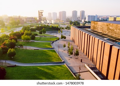 KATOWICE, POLAND - JUNE 08, 2019: The modern city center of Katowice at sunrise with the famous concert hall of The National Orchestra of Polish Radio and Silesian Museum in the distance