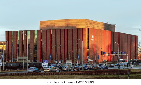 KATOWICE, POLAND - MARCH 01, 2020: Seat of Polish National Radio Symphony Orchestra in Katowice. The orchestra founded in 1935 is one of Poland's premier musical institutions.