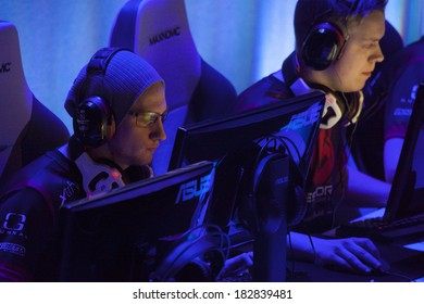 KATOWICE, POLAND - MARCH 16: CS:GO players at Intel Extreme Masters 2014 (IEM) - Electronic Sports World Cup on March 16, 2014 in Katowice, Silesia, Poland.