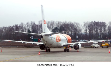 Katowice, Poland - March 29, 2016: TNT airways 737 freighter jet in Katowice, Poland