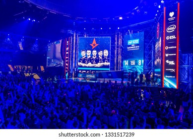 KATOWICE, POLAND - MARCH 3, 2019: Intel Extreme Masters 2019 - Electronic Sports World Cup on march 3, 2019 in Katowice, Silesia, Poland. IEM ESL Couter Strike Global Offensive final, ENCE vs ASTRALIS
