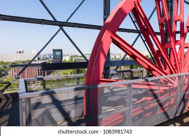 "KATOWICE, POLAND - MAY 05, 2018: Shaft of the former coal mine ""Katowice"", now adapted as an observation tower of Silesian Museum."