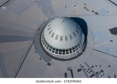 "KATOWICE, POLAND - MAY 27, 2020: Aerial photo of ""Spodek"" arena complex and modern city center of Katowice, Upper Silesia. Poland."