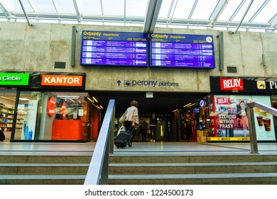 KATOWICE, POLAND - OCT 10, 2018: Katowice railway station in the city centre with its large shopping mall and little boutiques.