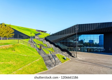 KATOWICE, POLAND - OCT 11, 2018: The International Conference Centre (MCK). In December 2018 it will hold ONZ United Nations Framework Convention on Climate Change - COP24.