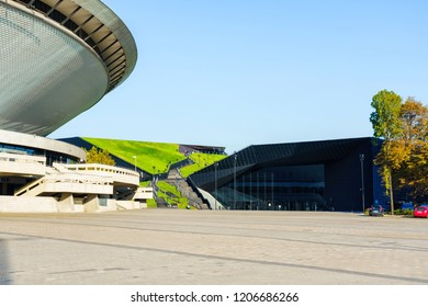 KATOWICE, POLAND - OCT 11, 2018: Spodek hall arena and the International Conference Centre. In December 2018 it will hold ONZ United Nations Framework Convention on Climate Change - COP24.