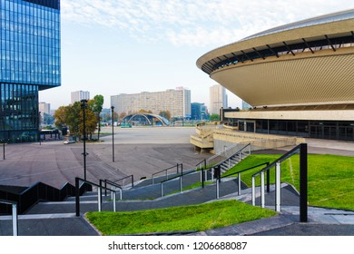 KATOWICE, POLAND - OCT 11, 2018: The International Conference Centre. In December 2018 it will hold ONZ United Nations Framework Convention on Climate Change - COP24. KTW building in the background