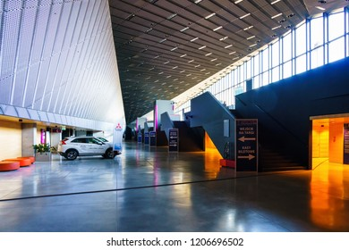 KATOWICE, POLAND - OCT 11, 2018: Interior of The International Conference Centre building. In December 2018 it will hold ONZ United Nations Framework Convention on Climate Change - COP24.