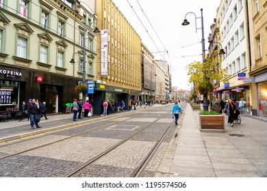 KATOWICE, POLAND - OCT 4, 2018: 3 maja street in Katowice, Poland. Facade of a residential townhouse in the Katowice city centre.