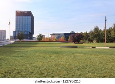 KATOWICE, POLAND - OCTOBER 07, 2018: Ofiice part of Katowice in autumn time. Europe. Poland.