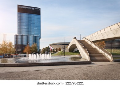 KATOWICE, POLAND - OCTOBER 07, 2018: Modern Buisness part of Katowice in autumn time. Europe. Poland.