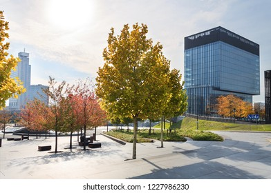 KATOWICE, POLAND - OCTOBER 07, 2018: office building in the centre of Katowice, in autumn time.