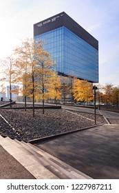 KATOWICE, POLAND - OCTOBER 07, 2018: Modern Ofiice part of Katowice in autumn time. Europe. Poland.