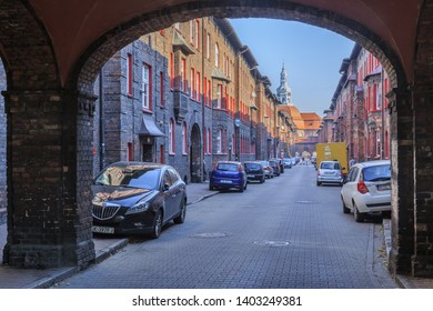 KATOWICE, POLAND. OCTOBER 2018: St. Anna street in Nikiszowiec, a mining district of Katowice, polish Silesia