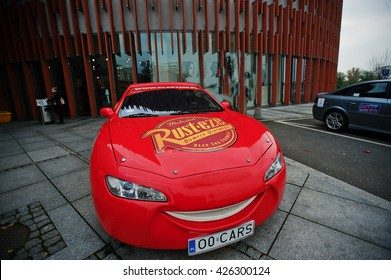 Katowice, Poland - October 24, 2014: Lightning McQueen a larger version of the car, cartoon character of the Disney Pixar feature film Cars.