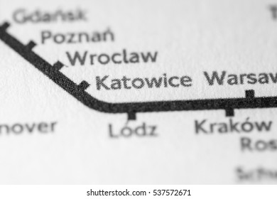 Katowice, Poland on a geographical map.