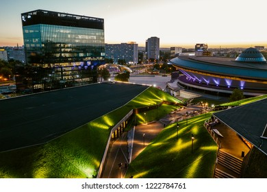 KATOWICE, POLAND - SEPTEMBER 12, 2018: The modern city center of Katowice with green roof of International Congress Centre and the famous Spodek sports hall