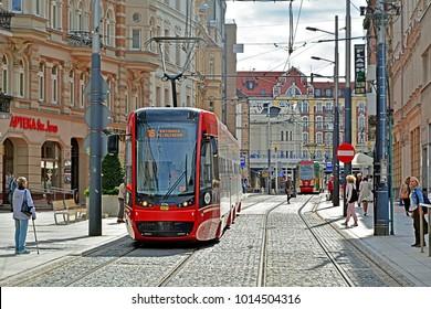KATOWICE, POLAND - SEPTEMBER 13, 2017 - Pesa Twist 2012N tram in the centre of Katowice