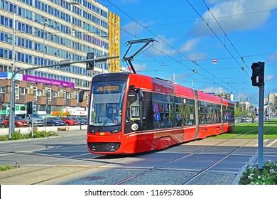 KATOWICE, POLAND - SEPTEMBER 13, 2017 - New Pesa Twist 2012N tram, belonging to Tramwaje Slaskie, in the centre of Katowice