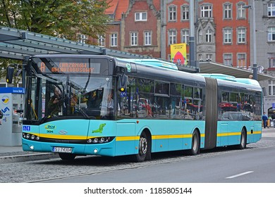 KATOWICE, POLAND - SEPTEMBER 13, 2017 - Solaris Urbino 18 articulated city bus, belonging to PKM Jaworzno, in the centre of Katowice