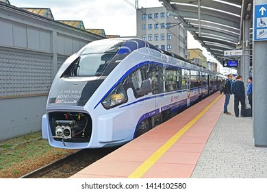 KATOWICE, POLAND - SEPTEMBER 13, 2017 - Dart ED161 long-distance train, produced by the Polish company Pesa for PKP Intercity operator, standing at Katowice railway station
