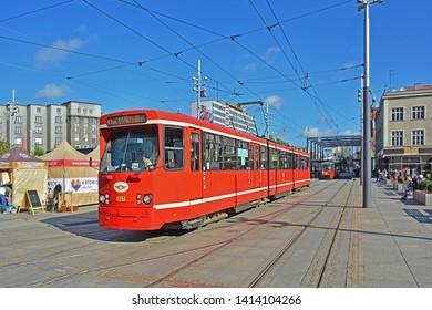 KATOWICE, POLAND - SEPTEMBER 13, 2017 -  Duewag Pt tram, operated by the Tramwaje Slaskie, at Rynek square in Katowice