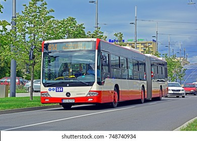 KATOWICE, POLAND - SEPTEMBER 13 - Mercedes-Benz Conecto G articulated city bus, belonging to PKM Sosnowiec on KZK GOP bus line in the centre of Katowice on September 13, 2017 in Katowice, Poland
