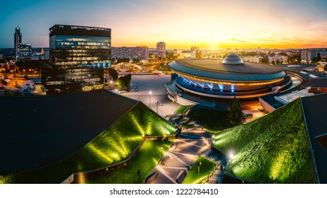 KATOWICE, POLAND - SEPTEMBER 18, 2018: The modern city center of Katowice with green roof of International Congress Centre and the famous Spodek sports hall