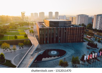 KATOWICE, POLAND - SEPTEMBER 18, 2018: Modern concert hall of The National Orchestra of Polish Radio located in a modern district of Katowice.