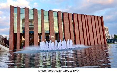 KATOWICE, POLAND - SEPTEMBER 28, 2018: Building of Polish National Radio Symphony Orchestra on 28 September 2018 in Katowice, Building is located in the city center near the Silesian Museum.